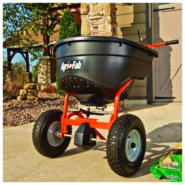 45-0462 Agri Fab Large Capacity 130 Pound Push Broadcast Spreader, Orange 1