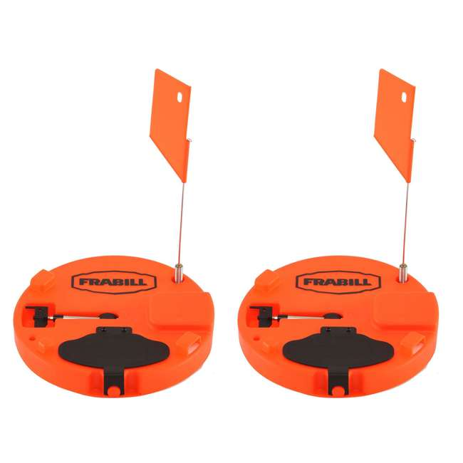 """1660 Frabill Pro Thermal Ice Fishing Tip Up Trap for Up to 10"""" Hole, Orange (2 Pack)"""