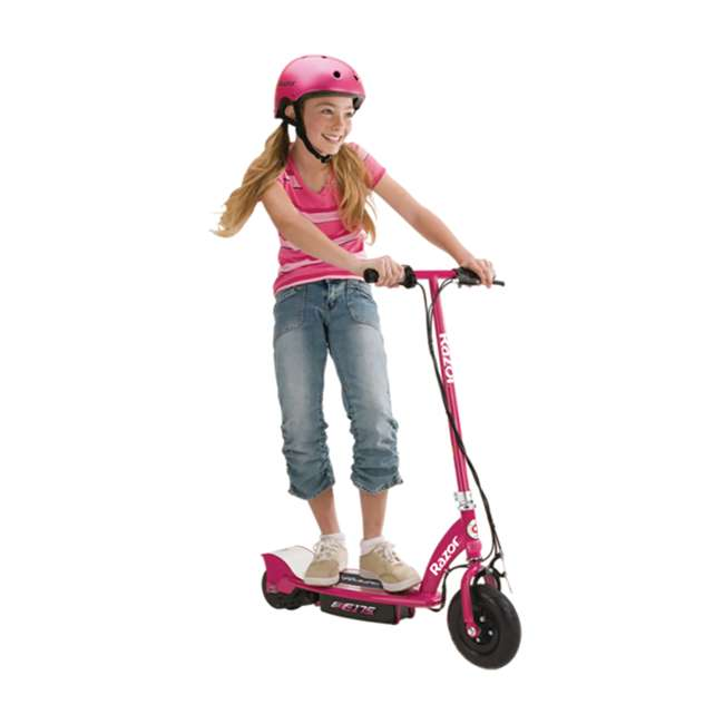 13111269 + 97783 Razor E175 Electrical Kids Scooter in Pink & V17 Sport Helmet in Satin Pink 2