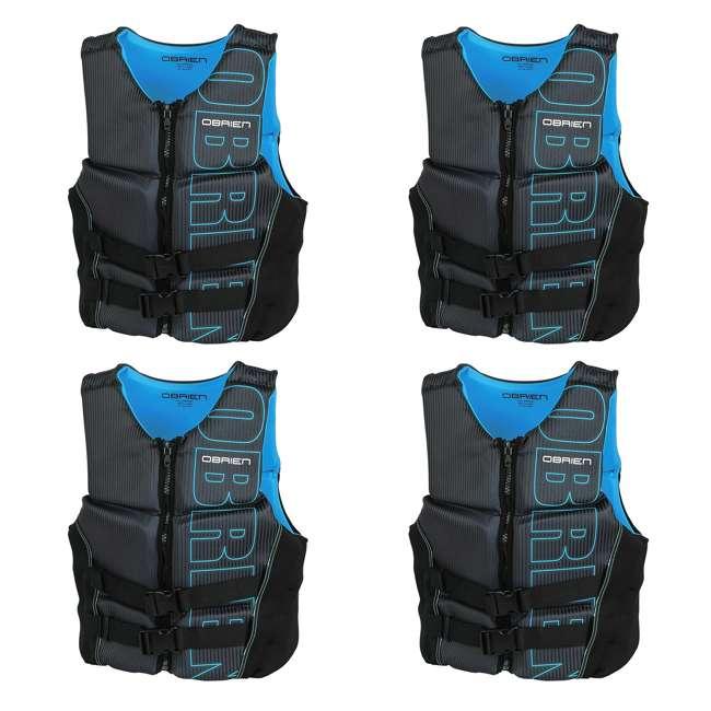 4 x 2171797-MW OBrien BioLite Men's Flex V Back Neoprene Life Vest Size XL, Black/Blue (4 Pack)