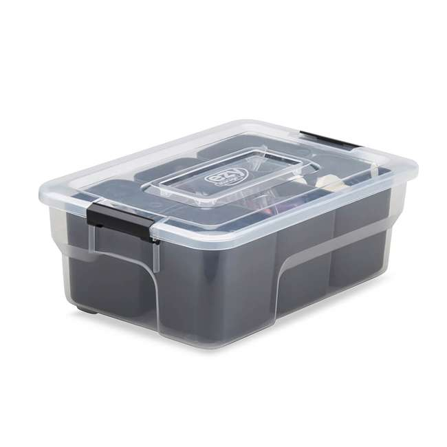 9 x FBA32236 Ezy Storage Sort It 5 Liter Stacking Container Box with Removable Cups (9 Pack) 1