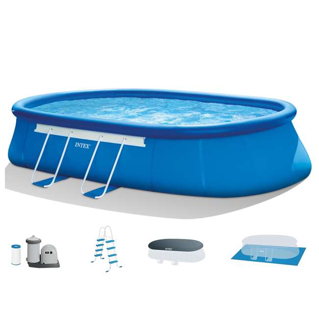 Intex 20 39 X 12 39 X 48 Oval Frame Above Ground Swimming Pool Set 26193eh