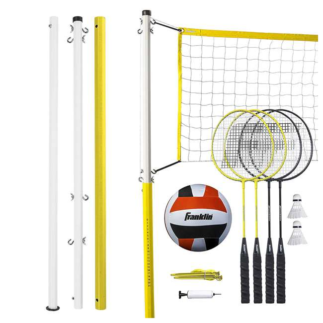 50611 Franklin Sports Backyard Volleyball and Badminton Set