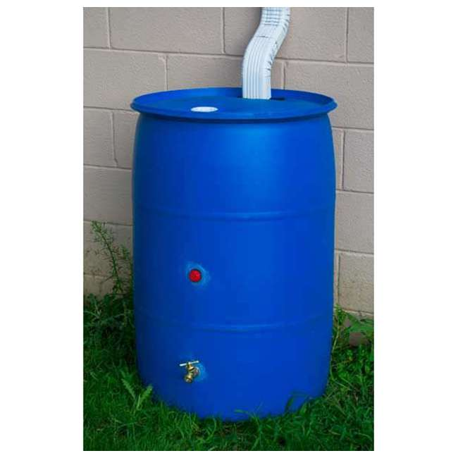 RB55-BLUE-U-B Good Ideas Blue 55G Recycled Plastic Rainwater Collection Barrel Drum (Used) 3