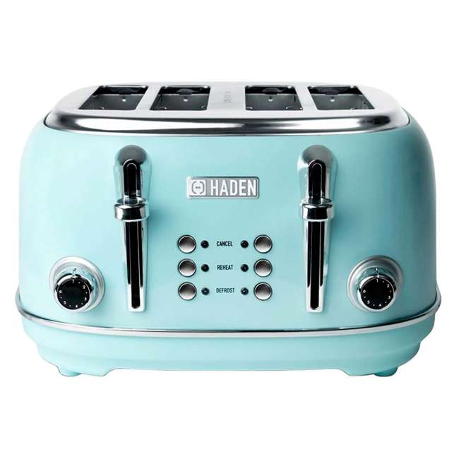 75005 Haden Heritage 4-Slice Wide Slot Stainless Steel Body Retro Toaster, Turquoise