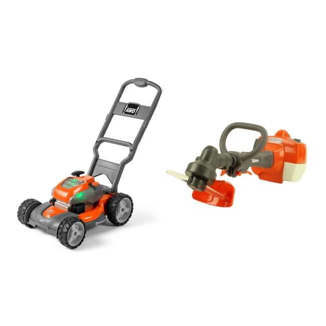 HV-TOY-589289601 + 585729102 Husqvarna Battery Powered Kids Toy Lawn Mower + Toy Weed Trimmer