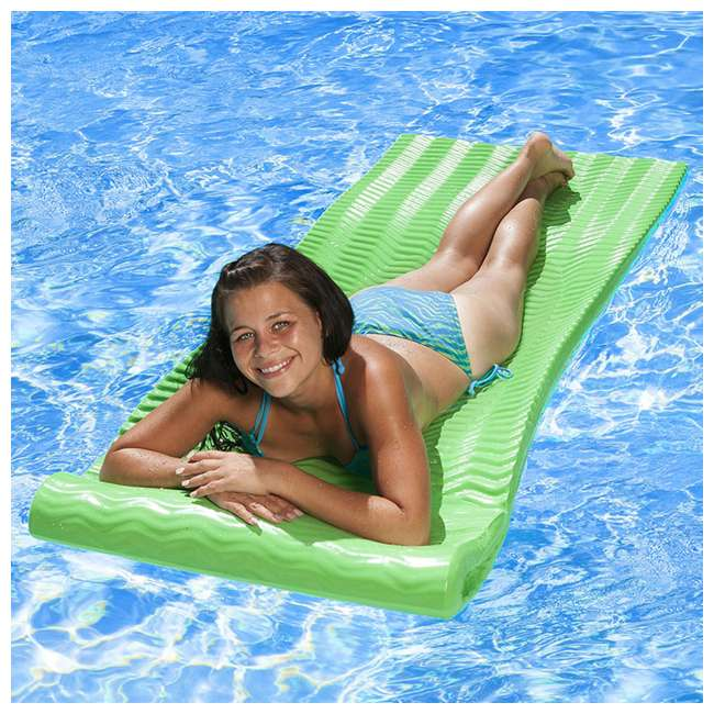 70758-U-A Poolmaster Soft Tropic Comfort Pool Lounger Mattress Float, Lime Green(Open Box) 3
