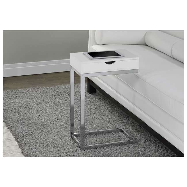 MS-VM3031-U-A Monarch Specialties Accent End Table with Drawer, White (Open Box) (2 Pack) 2