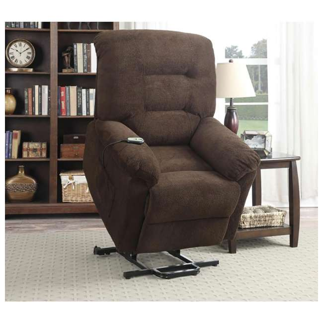600397ii Coaster Home Furnishings Remote Power Lift Recliner, Chocolate 4
