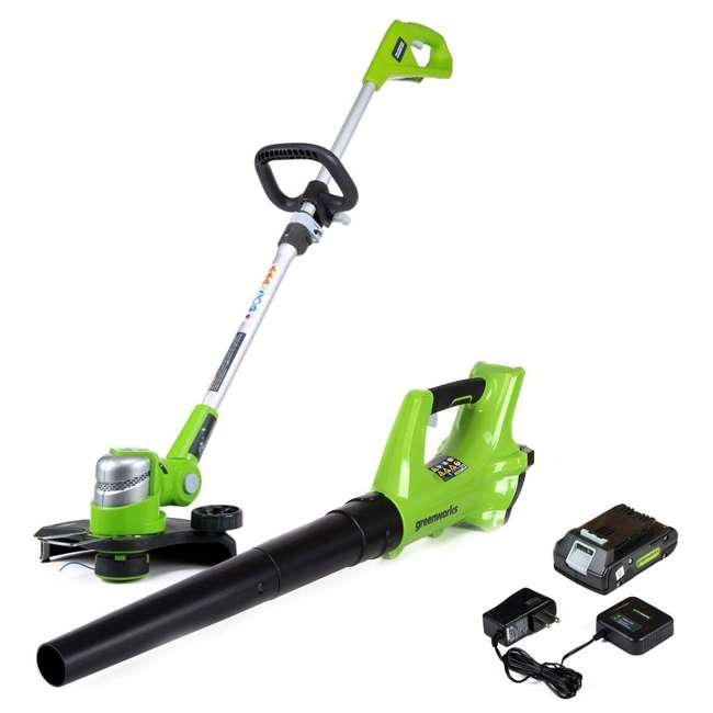 GW-1301502 Greenworks 24 Volt Battery Powered Cordless String Trimmer and Leaf Blower Combo