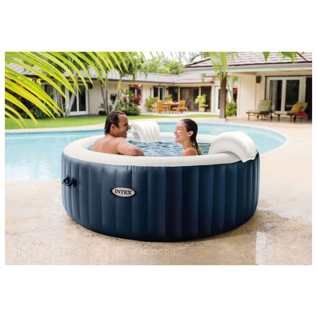 28429E Intex PureSpa Plus 4 Person Portable Inflatable Hot Tub Bubble Jet Spa, Blue 2