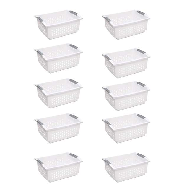 10 x 16648010 Sterilite Large Plastic Stackable Storage & Organization Basket, White (10 Pack)