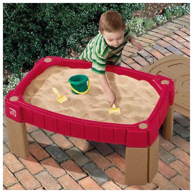 759499 Step2 Outdoor Kids Naturally Playful Raised Lidded Sand Table with Accessory Kit 1