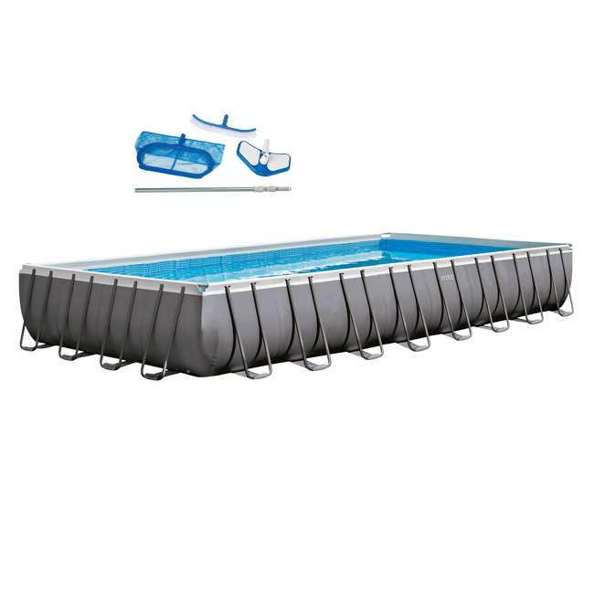 28375EH Intex 32 x 16 x 4.3 Foot Ultra Frame Pool Set with Cleaning Kit