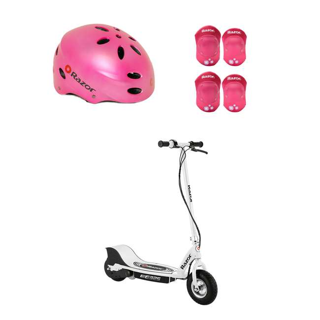 13116310 + 97783 + 96783 Razor E325 Electric Rechargeable Scooter + Bicycle Helmet + Elbow & Knee Pad Set