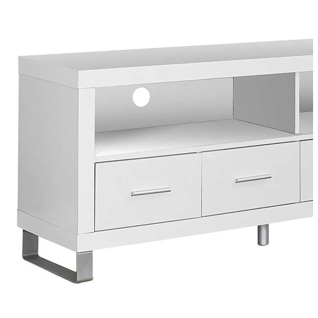 VM-2518 Monarch Contemporary Entertainment Center TV Stand w/ Storage, White (2 Pack) 5