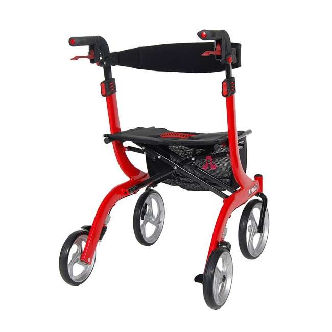 RTL10266-T Drive Medical Nitro Euro Style Tall Height Rollator Walker, Red