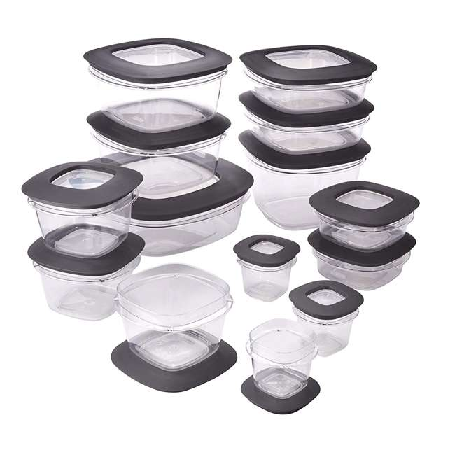 1951294 Rubbermaid Premier 28 Piece Easy Find Lids Food Storage Container Set, Gray