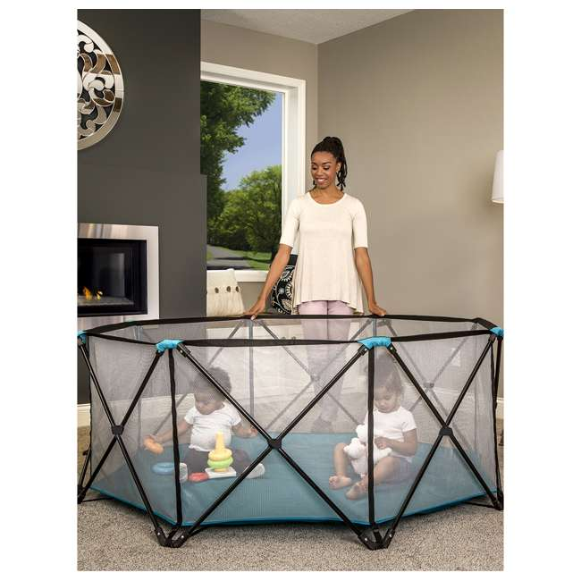"""1385 DS Regalo 8 Panel 62"""" x 26"""" My Play Deluxe Portable Mesh Foldable Play Yard (Used) 2"""