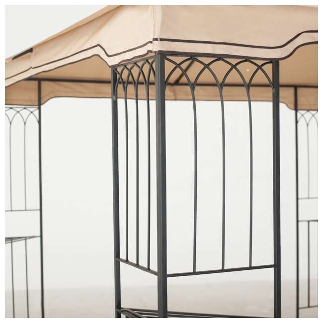 110101009 Sunjoy 10 x 10 Foot Backyard Outdoor Fence AIM Gazebo Canopy, Beige 2