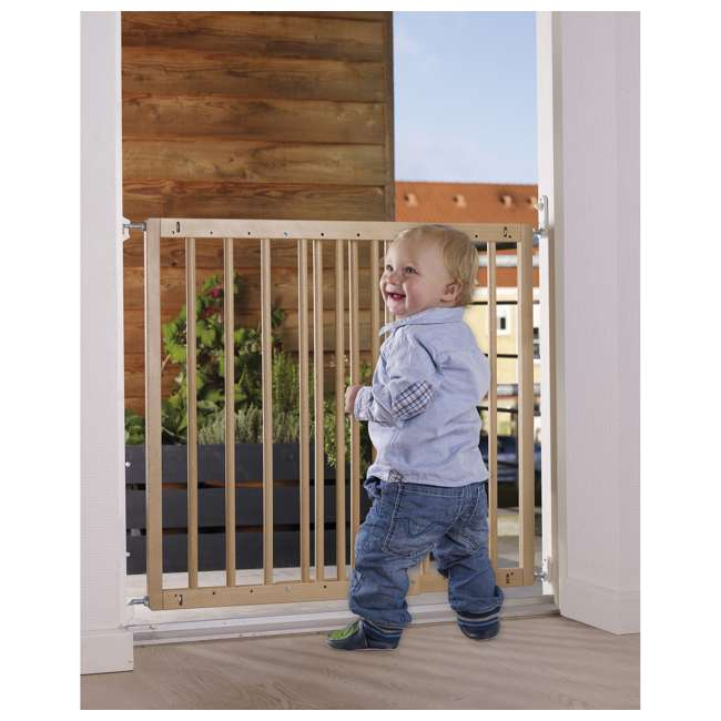 BBD-57112-5400 BabyDan MultiDan Wall Mount 23.9-40.1 Inch Doorway Safety Baby Gate, Beechwood 1