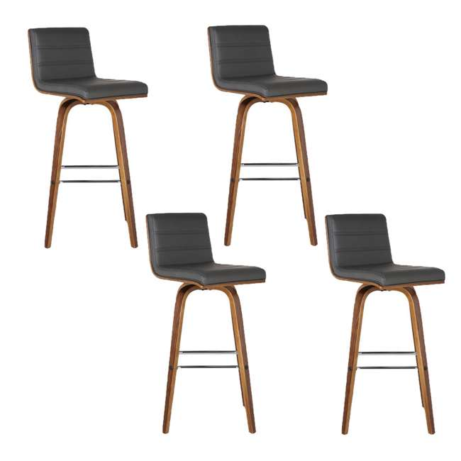 4 x LCVIBAGRWA30 Armen Living Vienna 30 Inch Barstool in Walnut Finish & Gray Upholstery (4 Pack)
