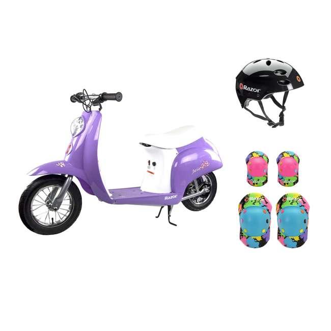 15130661 + 97778 + 96761 Razor Pocket Mod Mini Euro 24V Electric Kids Ride On Scooter w/ Helmet & Pads