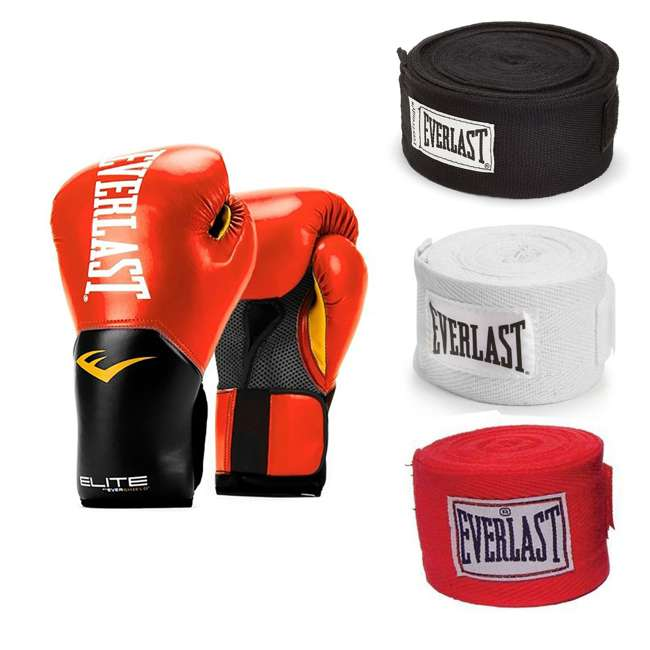 P00001198 + 4455-3 Everlast 14 Ounce Boxing Gloves, Red & Hand Wraps (3 Pack)