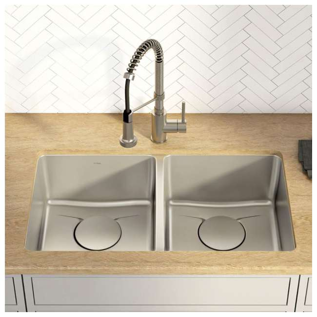 KD1UD33B-OB Kraus Dex 33-Inch Undermount Double Bowl Stainless Steel Sink (OPEN BOX) 1