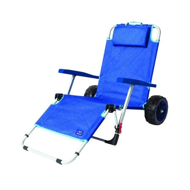 MAC-BD-200 Mac Sport 2-in-1 Beach Day Folding Lounger Chair & Wagon Cart w/ Lock, Blue