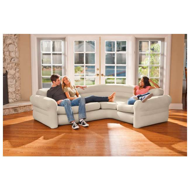 68575VM-U-A Intex Inflatable Corner Couch Sectional w/ Cupholders Gray(Open Box) (2 Pack) 4