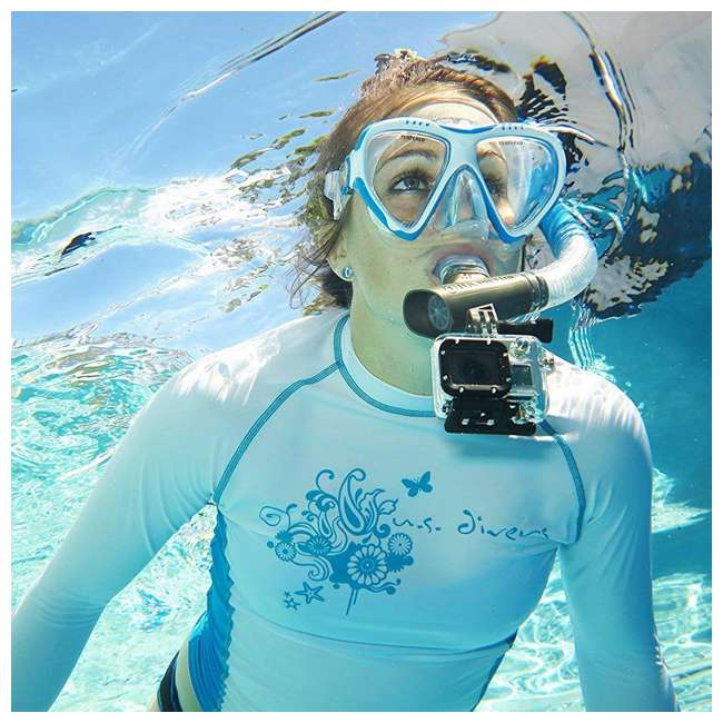 244870 U.S. Divers Lux Mask Snorkel Combo w/ Mount Compatible with GoPro Cameras, Aqua 2