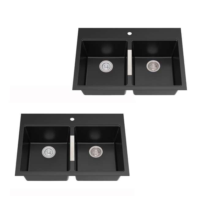 KGD-433B Kraus 33-Inch Dual Mount Double Bowl Granite Sink, Black (2 Pack)