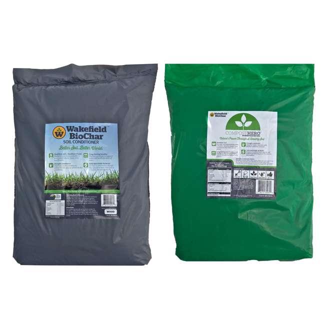 WFBCSC-BAG-40 + WFHERO-CMP-40 Wakefield 1 Cu Ft Biochar Organic Garden Soil Conditioner & 1 Cu Ft Compost