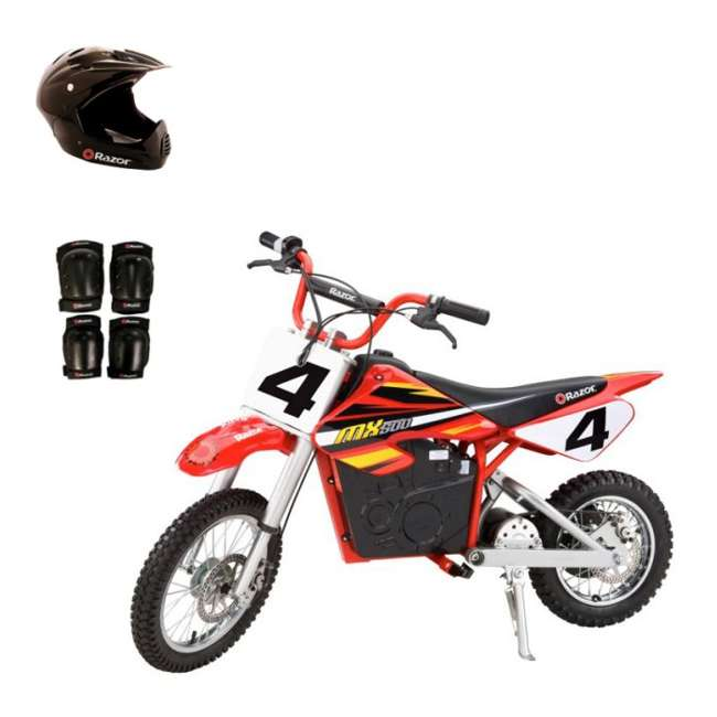 15128190 + 96785 + 97775 Razor MX500 Dirt Rocket Electric Moto Bike with Helmet, Elbow & Knee Pads