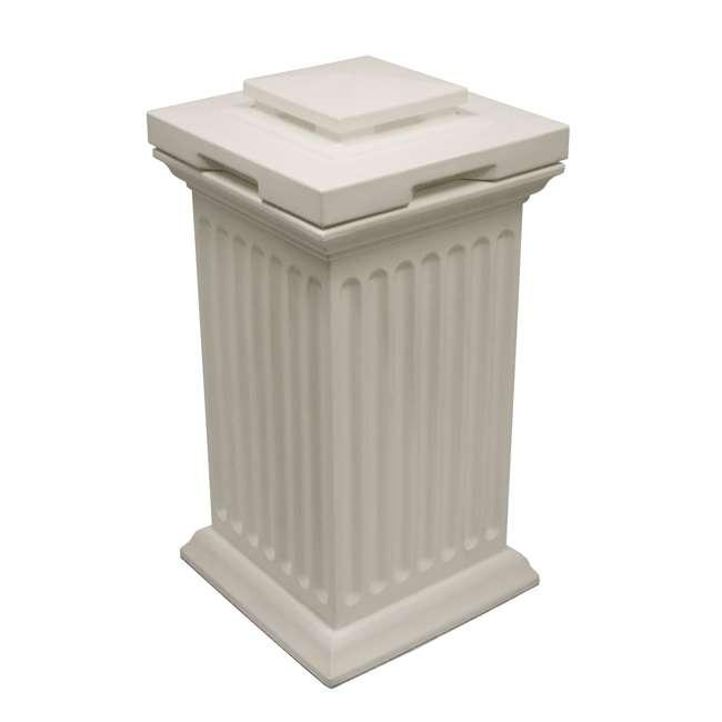 SV-COL-WHI Good Ideas Savannah Patio Outdoor Column 30 Gallon Storage and Waste Bin, White