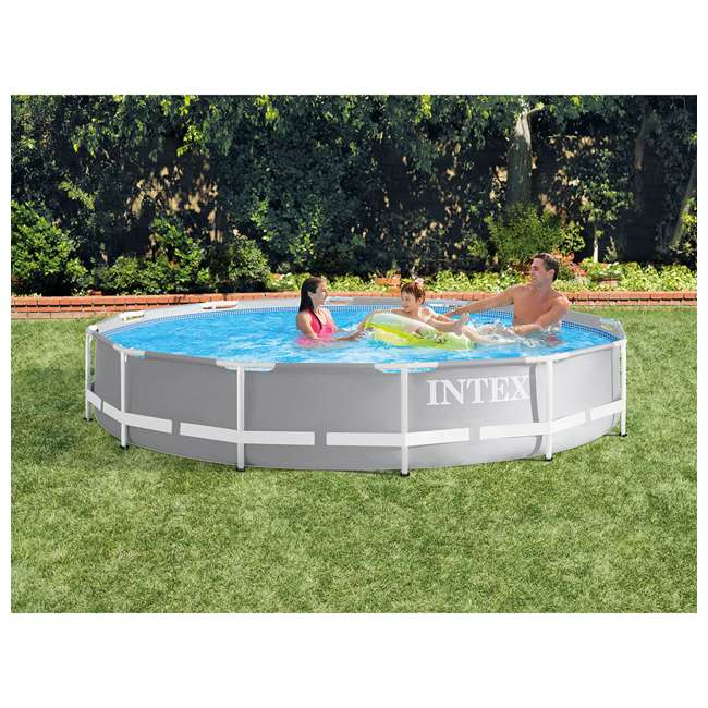 26711EH + 28031E + 28002E Intex Above Ground Pool Set w/ Cover & Maintenance Kit 1