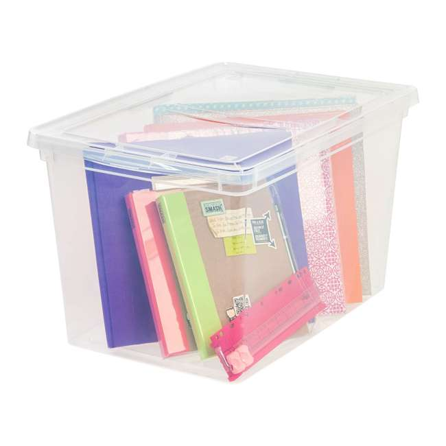 586875-6PK IRIS USA Extra Large Hard Plastic Stackable Closet Clear Storage Bin (12 Pack) 2