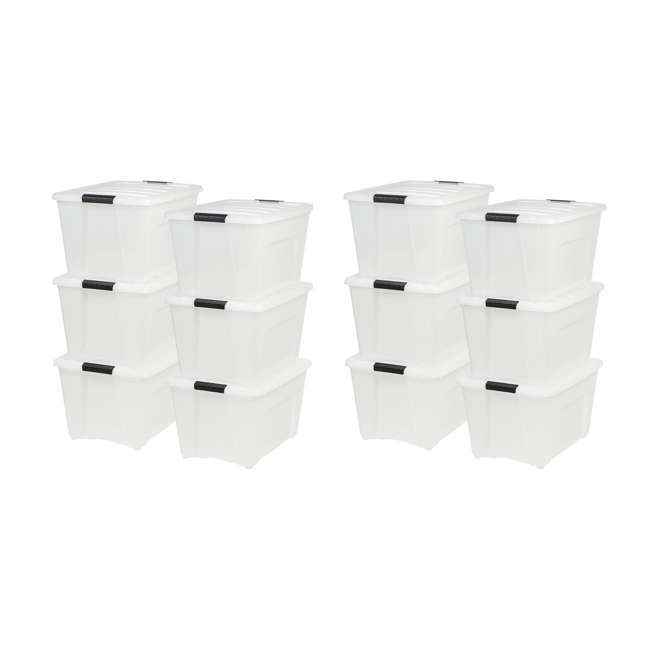 100299-6PK IRIS 53 Qt Stack & Pull Storage Lidded Container Box Bin System, Pearl (12 Pack)