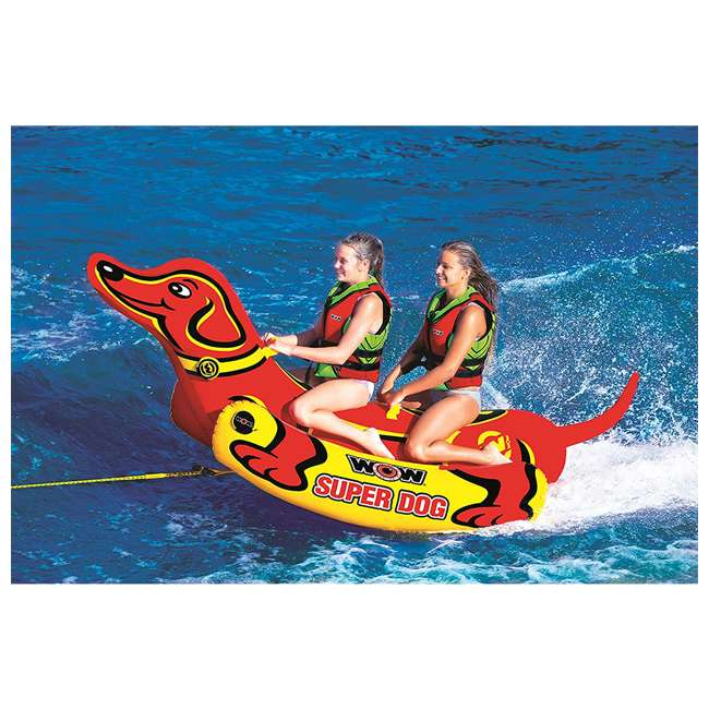 19-1160 WOW Watersports 19-1160 Super Dog 2 Person Towable Tube w/ Handles, Yellow & Red 1