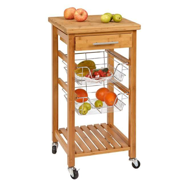 CSK-007 SpaceMaster Bamboo Kitchen Cart with Sliding Drawer