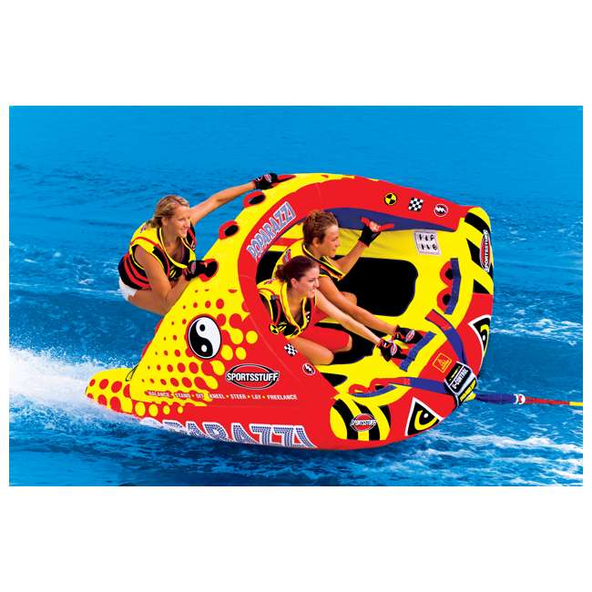 53-1750-U-A SPORTSSTUFF Poparazzi Triple Rider Inflatable Towable Boat Water Tube (Open Box) 1