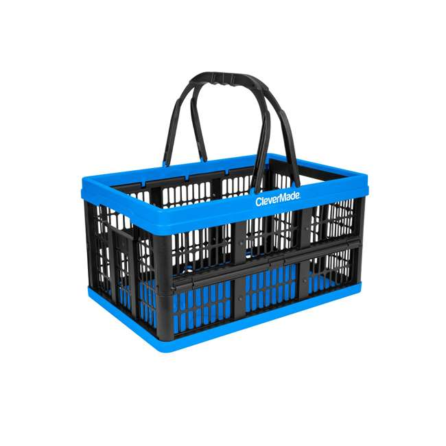 8031425-21843PK CleverMade CleverCrate 16L Collapsible Shopping Basket, Neptune Blue (3-Pack) 1
