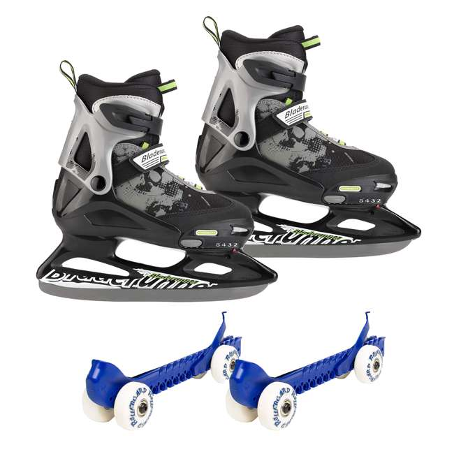 0G144400T83-L + 44374-BL Rollerblade Bladerunner Micro Ice Skates, Large, and Skate Guard Rollers (Pair)