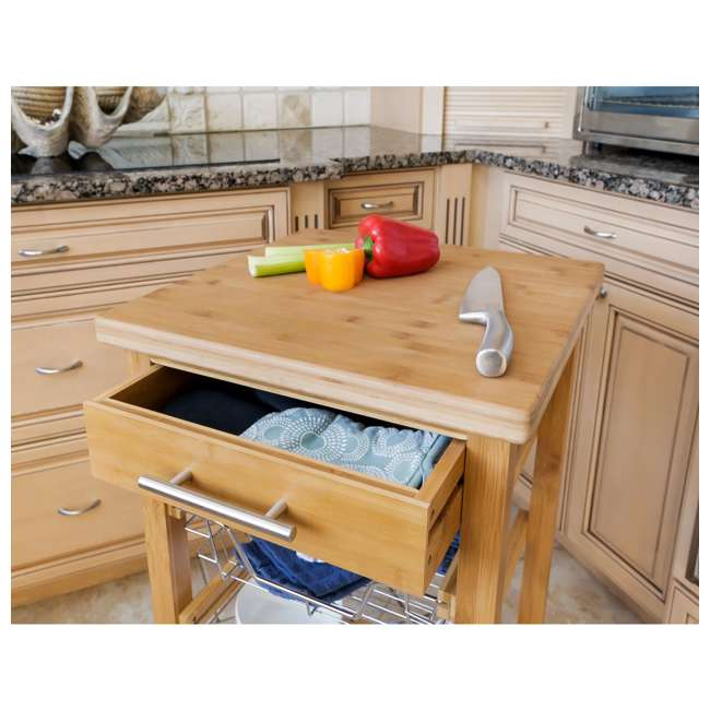 CSK-007 SpaceMaster Bamboo Kitchen Cart with Sliding Drawer 2