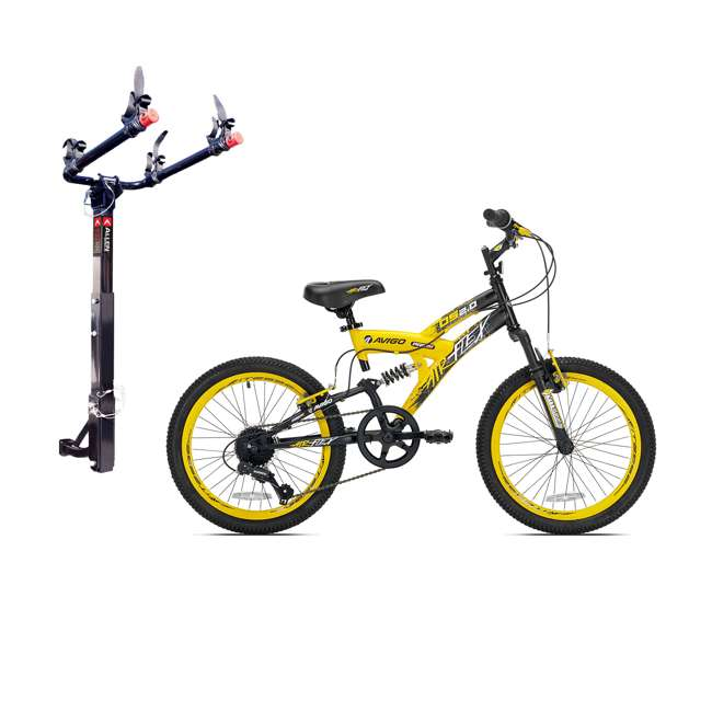42084 + 522RR-R Kent Bikes Avigo Air Flex Steel 20 Inch Boys BMX Bike & 2 Bike Car Hitch Rack