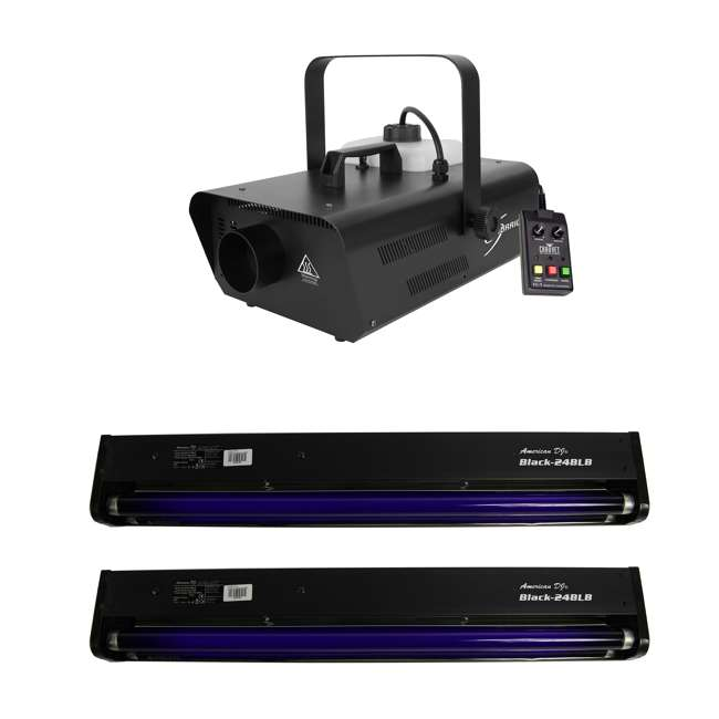 H1302 + 2 x BLACK-24BLB Chauvet DJ Smoke Fog Machine w/ Wired Remote w/ 2 American DJ Black Lights