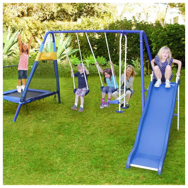 MSC-3242-BM Almansor Metal Outdoor Swing Set with Trampoline 3