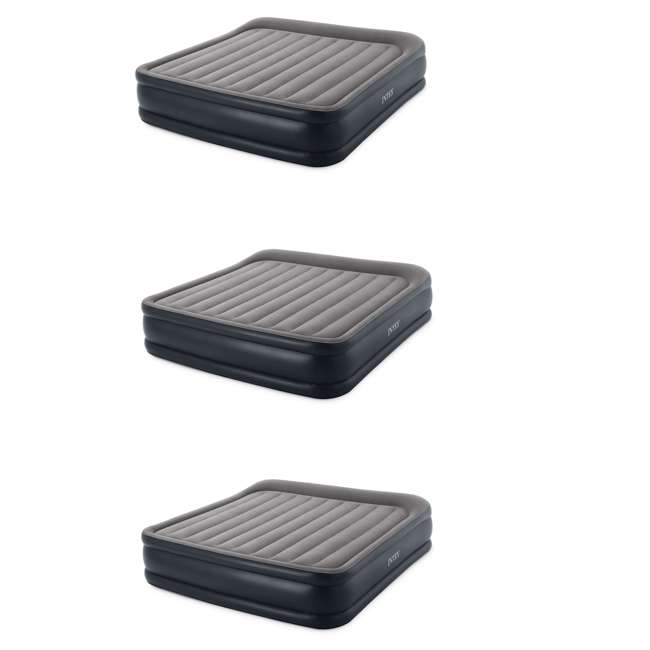 3 x 64137VM Intex Deluxe Pillow Rest Inflatable Air Bed with Built In Pump, King (3 Pack)