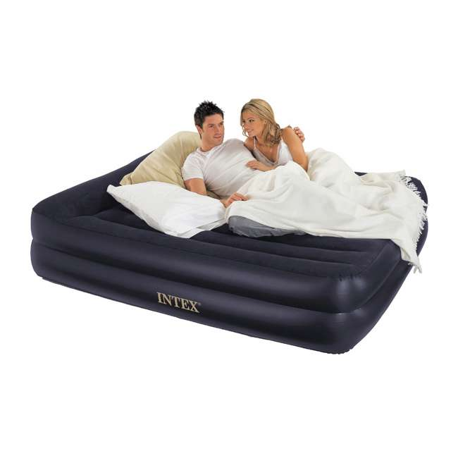 68566EP + 64123E Intex Inflatable Queen Pull-Out Futon Sofa + Queen Air Mattress 3